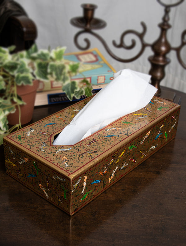 Exclusive Kashmiri Art Papier Mache Artifact - Tissue Holder, Dull Gold, Birds - The India Craft House