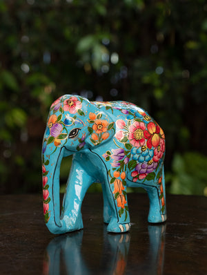 Exclusive Kashmiri Art Papier Mache Curio - Elephant, Medium; Turquoise Blue, Floral