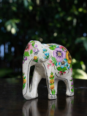 Exclusive Kashmiri Art Papier Mache Curio - Elephant, Medium; White Floral
