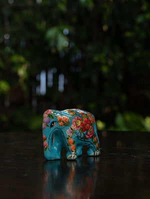 Exclusive Kashmiri Art Papier Mache Curio - Elephant, Mini; Turquoise Blue, Floral