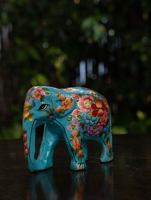 Exclusive Kashmiri Art Papier Mache Curio - Elephant, Small; Turquoise Blue, Floral