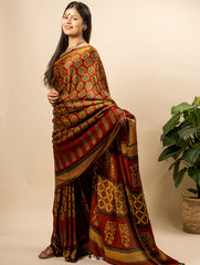 Exclusive & Elegant Pure Gaji Silk Ajrakh Block Printed Saree (With Blouse Piece)