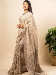 Exclusive & Elegant Woven Checked Silk  Saree (With Blouse Piece)