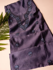 Exclusive, Fine Kashmiri Hand Embroidered Chanderi Kurta / Dress Fabric (unstitched)