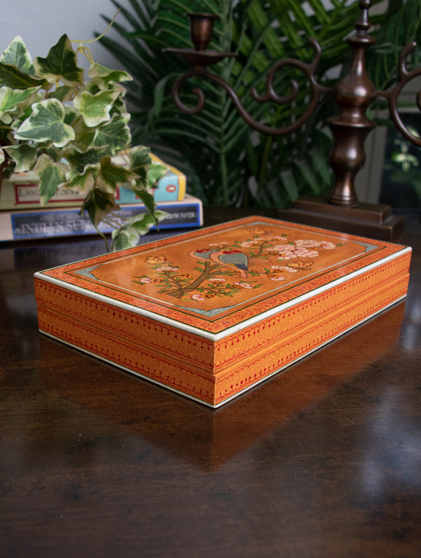 Exclusive & Intricate Kashmiri Art Papier Mache Decorative Box - Large, Rectangular; Orange, Birds - The India Craft House