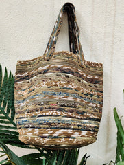 Fabric-Cord Patchwork Medium Tote Bag