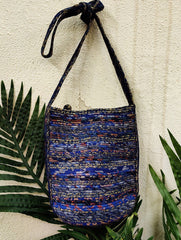 Fabric-Cord Patchwork Sling Bag