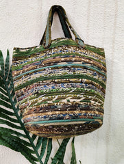 Fabric-Cord Patchwork Small Tote Bag