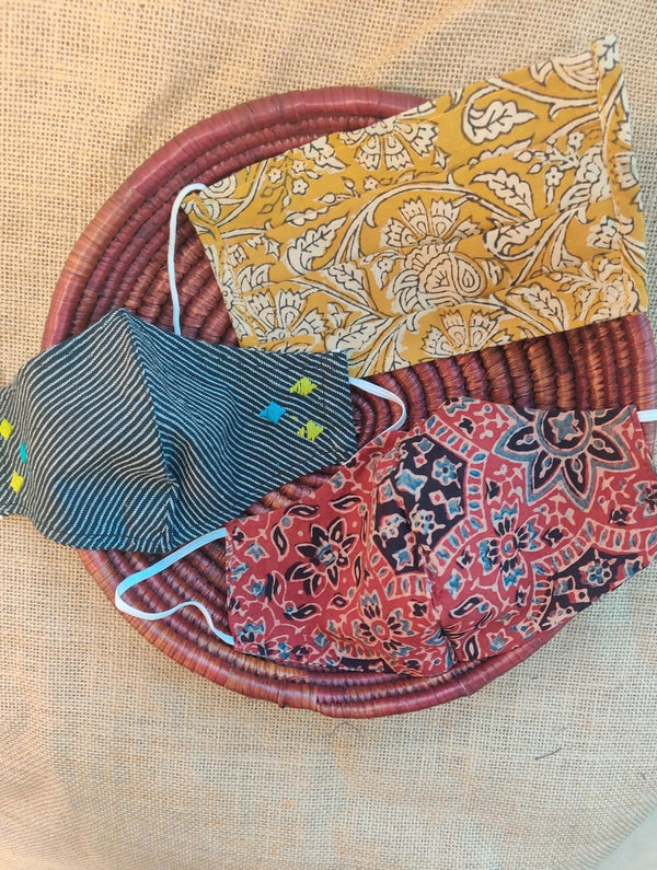 Face Masks (Set of 3) - Ajrakh, Kalamkari & Embroidered