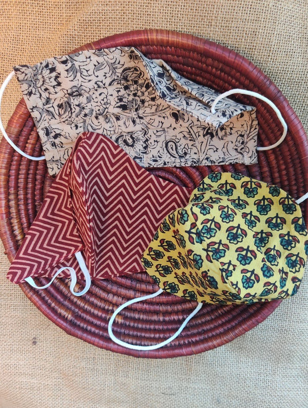 Face Masks (Set of 3) - Cotton Block Print (Reversible), Kalamkari, Ajrakh