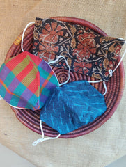 Face Masks (Set of 3) - Ikat, Kalamkari, Checked Cotton