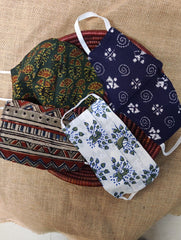 Face Masks (Set of 4) - Ajrakh Block Printed, Kantha
