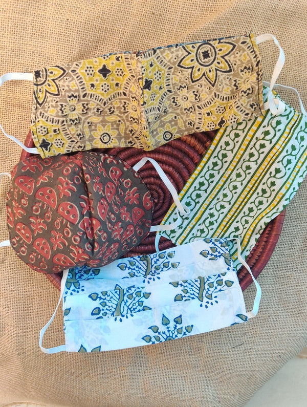 Face Masks (Set of 4) - Ajrakh (Reversible), Assorted Block Printed
