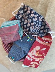 Face Masks (Set of 4) - Batik, Block Printed, Checked Cotton, Embroidered