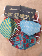 Face Masks (Set of 4) - Batik (Reversible), Ikat,Block Printed, Checked Cotton