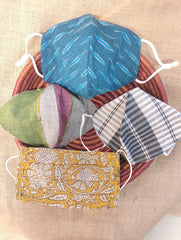 Face Masks (Set of 4) - Checked, Striped Cotton, Ikat, Kalamkari