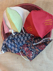 Face Masks (Set of 4) - Cotton Fabric (Reversible), Kalamkari, Block Printed, Embroidered