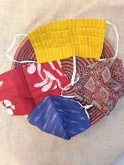 Face Masks (Set of 4) - Handloom Cotton, Batik(Reversible), Ikat, Ajrakh