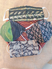 Face Masks (Set of 4) - Handloom Woven, Batik (Reversible), Block Printed, Kalamkari