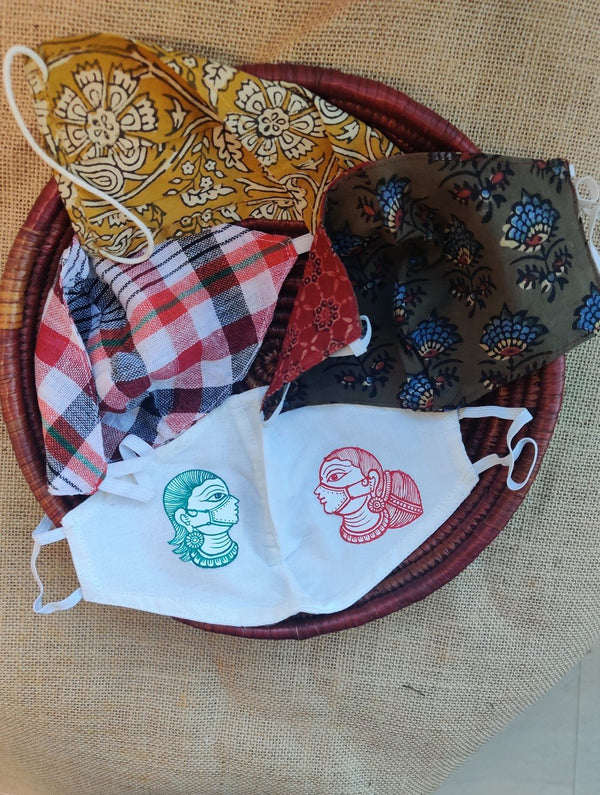 Face Masks (Set of 4) - Handpainted Patachittra, Kalamkari, Checked Cotton, Ajrakh (Reversible)