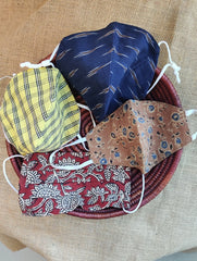 Face Masks (Set of 4) - Ikat, Ajrakh / Checked Cotton (Reversible), Kalamkari