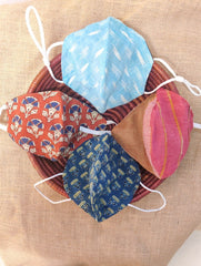 Face Masks (Set of 4) - Ikat, Ajrakh,  Handloom Cotton