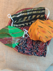 Face Masks (Set of 4) - Ikat, Batik(Reversible), Kalamkari, Handloom Cotton