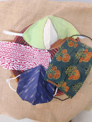 Face Masks (Set of 4) - Ikat, Block Printed, Handloom Cotton