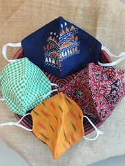Face Masks (Set of 4) - Ikat, Checked Cotton, Ajrakh, Kantha