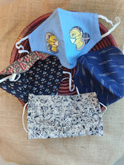 Face Masks (Set of 4) - Ikat, Handpainted Patachittra, Kalamkari, Ajrakh (Reversible)