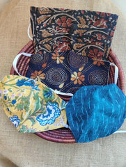 Face Masks (Set of 4) - Ikat, Kalamkari, Block Printed, Kantha