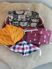 Face Masks (Set of 4) - Ikat, Kalamkari, Checked Cotton, Kantha