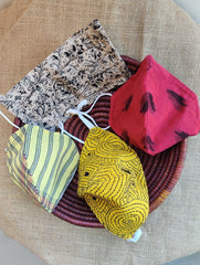 Face Masks (Set of 4) - Ikat, Kalamkari, Striped Cotton, Kantha