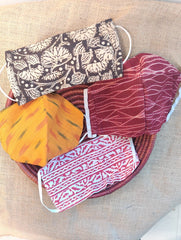 Face Masks (Set of 4) - Ikat, Shibori, Block Printed, Kalamkari