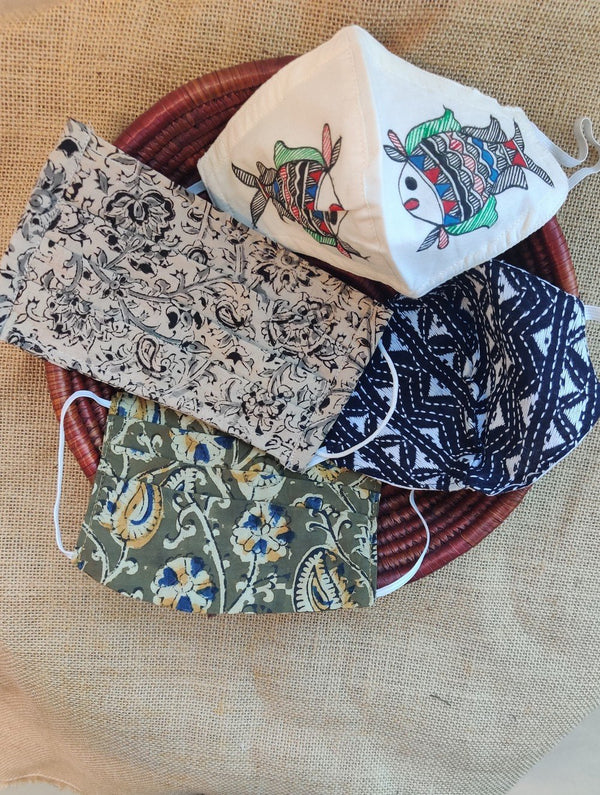 Face Masks (Set of 4) - Kantha, Kalamkari, Block Printed, Handpainted Madhubani