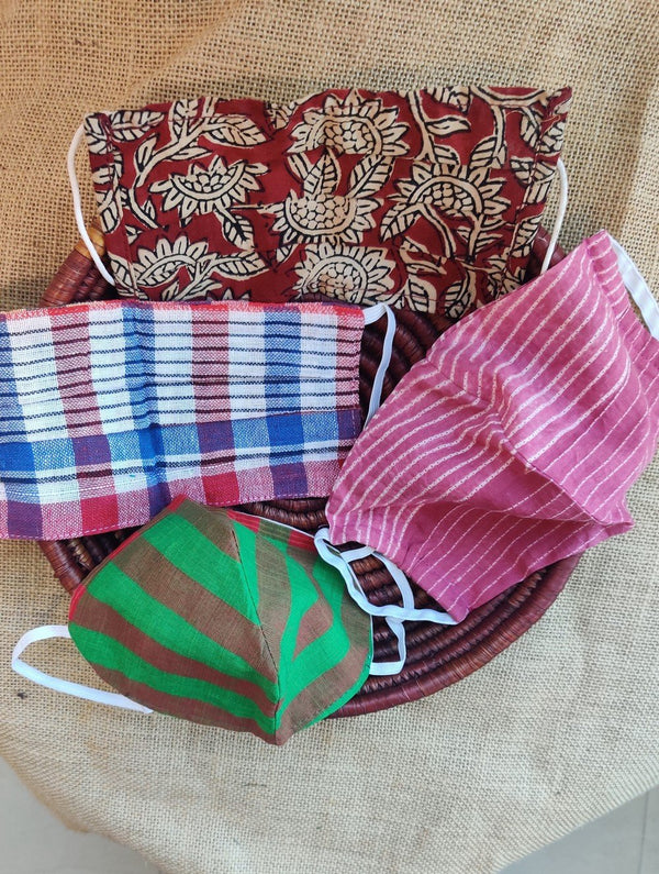 Face Masks (Set of 4) - Shibori (Reversible), Checked, Striped Cotton, Kalamkari