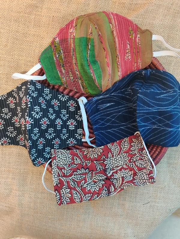 Face Masks (Set of 4) - Shibori (Reversible), Handloom Cotton, Kalamkari, Block Printed