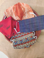 Face Masks (Set of 4) - Shibori (Reversible), Ikat, Handloom Cotton,  Block Printed