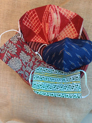 Face Masks (Set of 4) - Shibori (Reversible), Ikat, Kalamkari, Block Printed