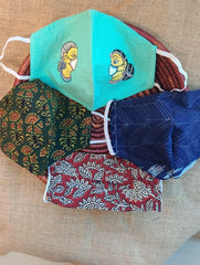 Face Masks (Set of 4) - Shibori (Reversible), Kalamkari, Ajrakh, Handpainted Patachittra