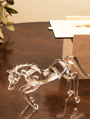 Fine Crystal Glass Curio - Galloping Horse