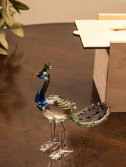 Fine Crystal Glass Curio - Peacock