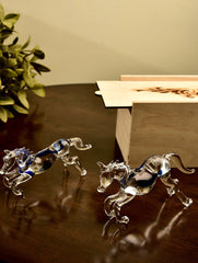 Fine Crystal Glass Curios - Galloping Horses (Set of 2)