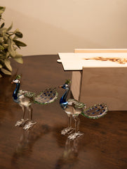 Fine Crystal Glass Curios - Peacocks (Set of 2)