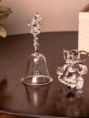 Fine Crystal Glass Ganesha + Bell (Set of 2)