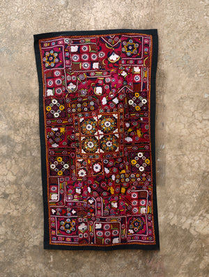 Vibrant and beautiful, fine Kutch Mirror Work Embroidery - Large Wall Hanging