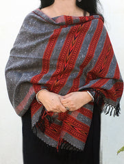 Fine, Soft Himachal Wool 6 Patti Stole With Woven Border