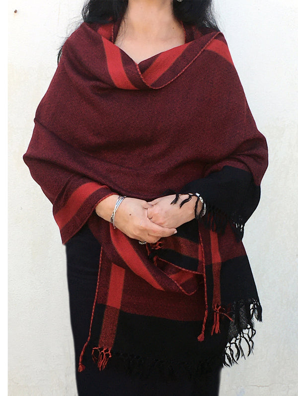 Fine, Soft Himachal Wool Shawl With Striped Border