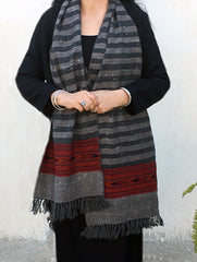 Fine, Soft Himachal Wool Striped Muffler With Woven Border