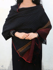 Fine, Soft Himachal Wool Striped Stole With Border